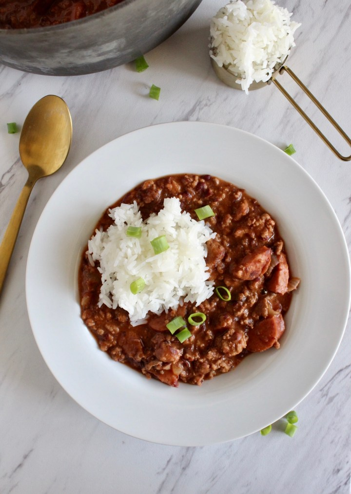 overhead photo of red beans and rice on a plate