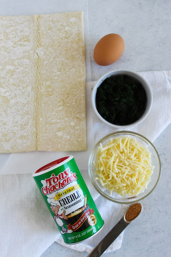 ingredients for spinach pinwheels