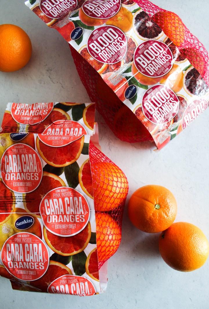 Cara cara and blood oranges in bags.