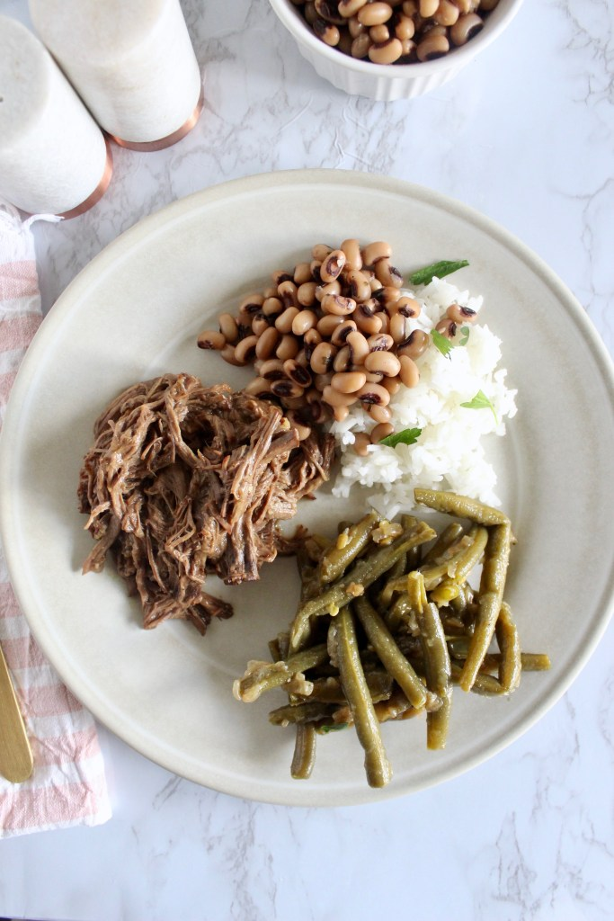 smothered green beans with roast