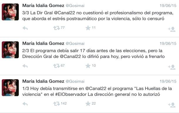 9150b1d6299 Tuits de denuncia de censura publicados el 19 de junio 2015 por Maria  Idalia Gomez
