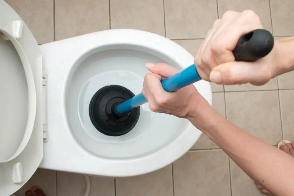 トイレのつまりを直している女性