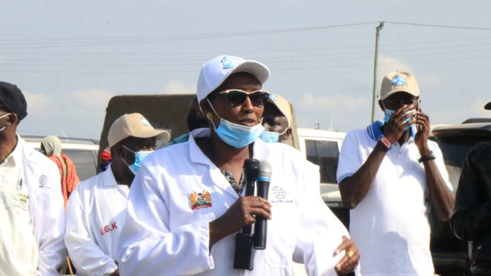 Agriculture CEC Member Jackline Koin spoke during Friday's national vaccination day in Oloosuyian, Kajiado