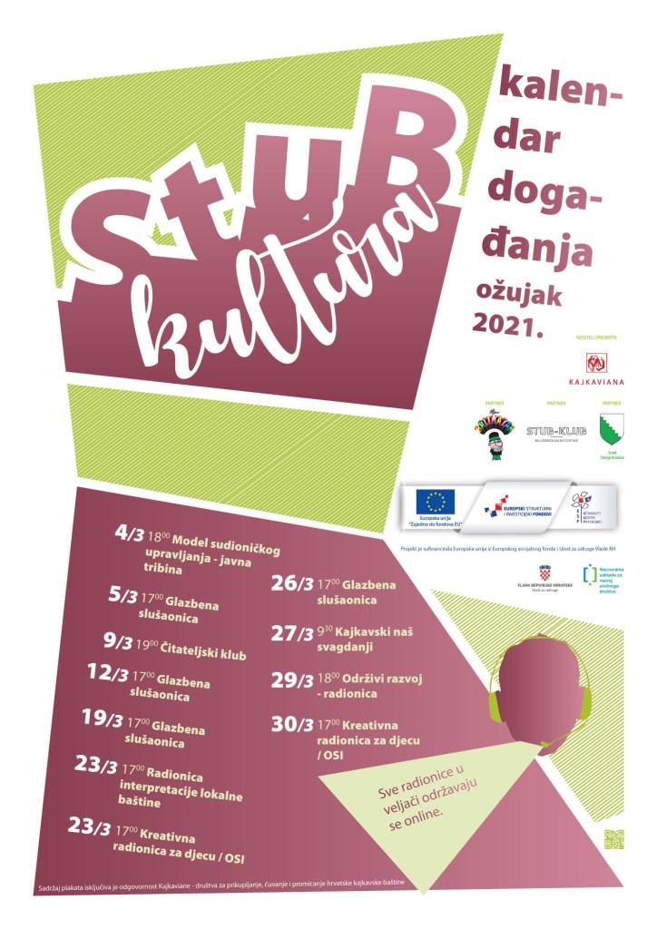 Slika prikazuje mjesečni kalendar događanja za projekt Stub-kultura