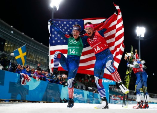 Diggins Randall win Olympics Pyeongchang cross-country relay