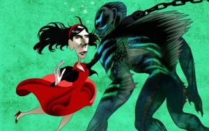 Shape of Water, Oscar Best Picture, caricature drawing