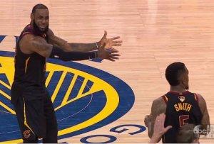 Lebron James imploring J.R. Smith, NBA Game 1 2018