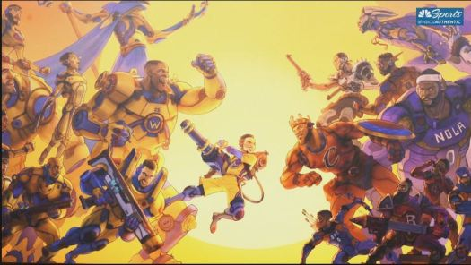 Golden State Warriors artwork battling NBA