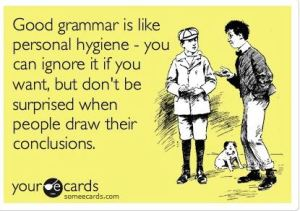 Grammar themed post card