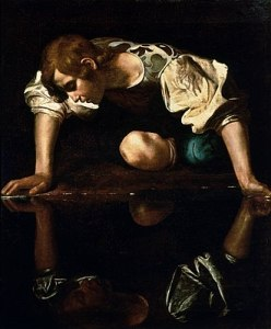 Carvaggio painting of Narcissus looking in water