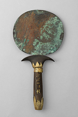 Bronze Egyptian hand mirror