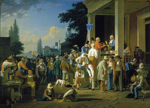 George Bingham painting of country men lining up to vote