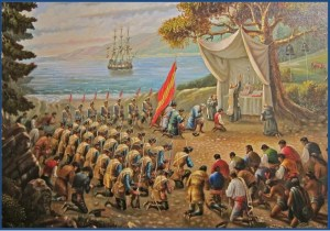 Painting of outdoor Catholic mass attended by dozens of bowing soldiers and others