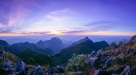 Twilight at third hightest peak in Thailand