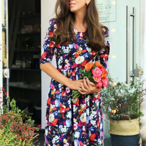 Платье стрейч-коттон цветочный принт