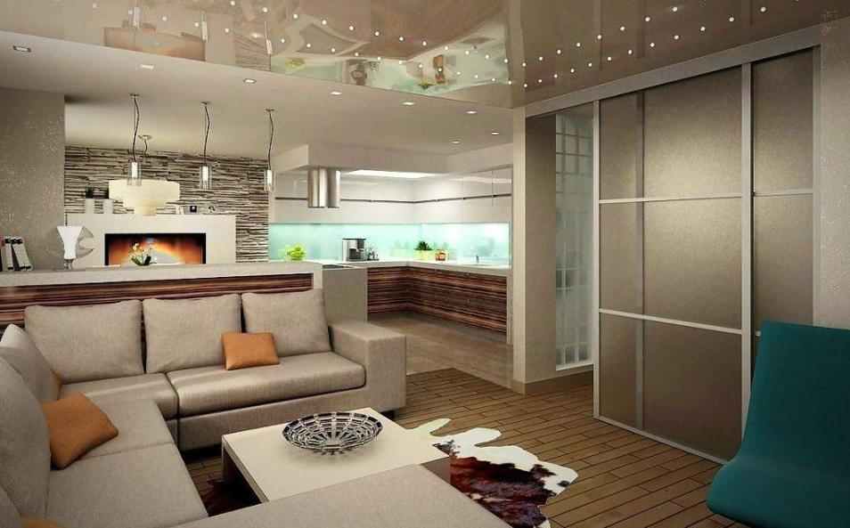 Зонирование пространства в гостиной кухне при помощи потолка