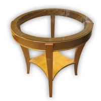 Wooden Coffee Table with Glass Top   Kaki Lelong ...
