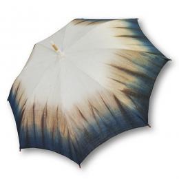 麻の日傘生成りに藍渋裾ぼかし