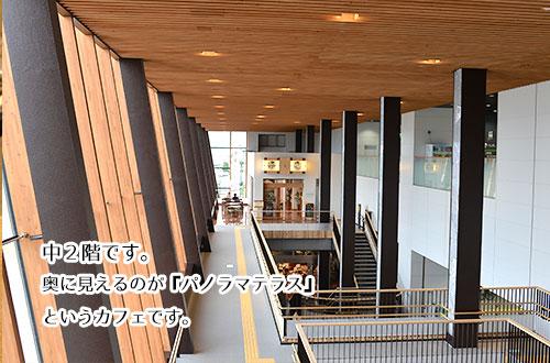飯山駅の中2階をのぞむ