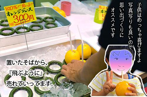 近江町の果物屋でオレンジジュース