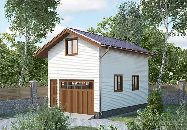 проект двухэтажного гаража из пеноблоков