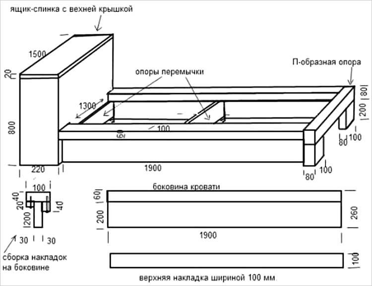 Σχέδιο κρεβατιού με κομοδίνο