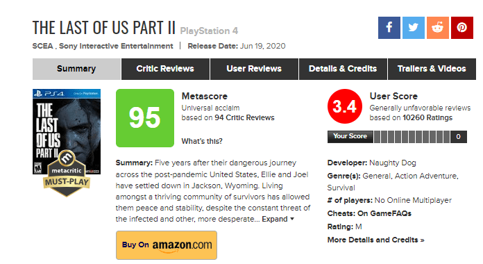 The Last of Us Part 2 Is Getting Review-Bombed On Metacritic ...