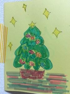 蛍光ペンでクリスマスカード
