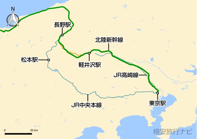 東京〜長野の地図