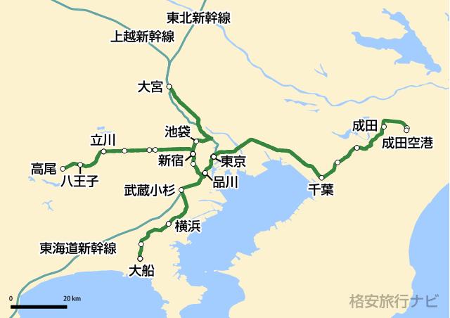 特急『成田エクスプレス』路線図