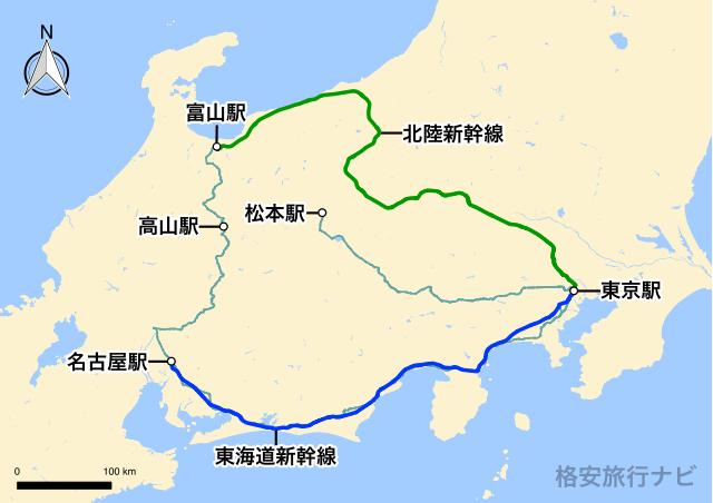 東京〜高山の地図
