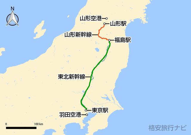 東京〜山形の地図