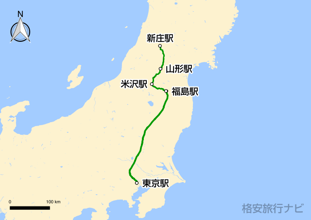 山形新幹線の路線図
