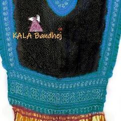 Aqua Rama - Black GajiSilk Panetar Dupatta