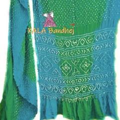 AquaMarine-Greenery GajiSilk Shaded Bandhani Saree