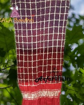 ArfatKhatri's Designer Wine Chocolate Brown Red Gharchola Bandhani Dupatta