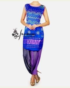 Blue Gaji Silk Patiala Suit