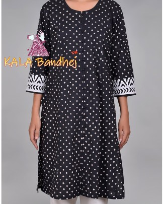 Black Bandhani Applique Sleeves Kurta