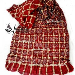 Blood-Red Cotton Gharchola Saree
