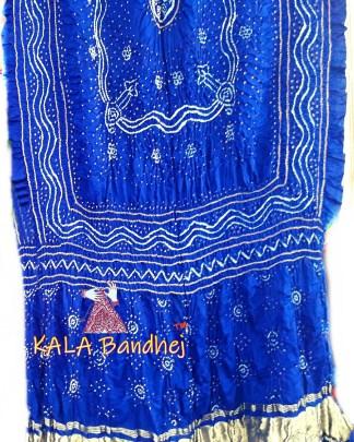 Blue GajiSilk Bandhani LagdiPalav Dupatta