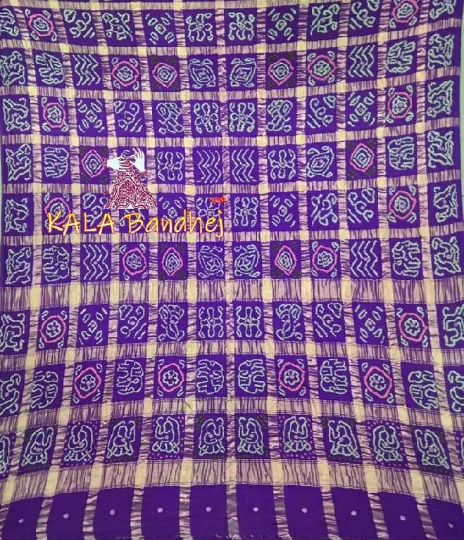 Blue Real Zari Bandhani Gharchola Saree