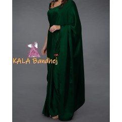 Emerald Green Gaji Silk Plain Saree