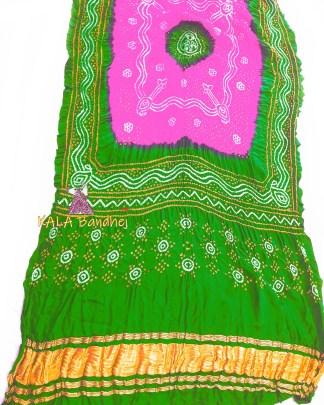 Green - Fuchsia GajiSilk Bandhani LagdiPalav Dupatta