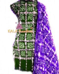 Green - Purple Cotton Gharchola DressMaterial