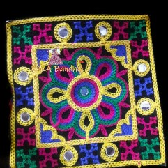 Black #9 Square Kutchi Work Patch