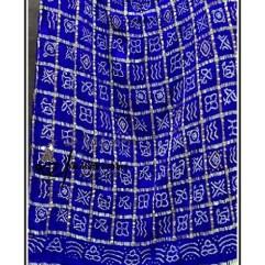 blue Gajisilk Bandhani Gharchola Dupatta