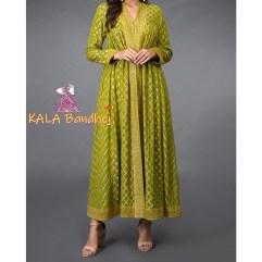 Mehandi Green Banarasi Zari Bandhej Anarkali Suit