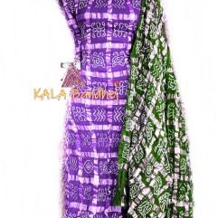 Magenta - Green Cotton Gharchola DressMaterial