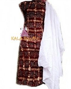 Dark Marron- White Cotton Gharchola DressMaterial