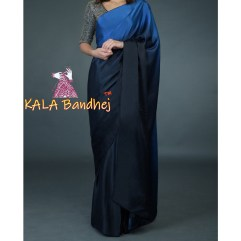 Midnight Blue Gaji Silk Plain Saree